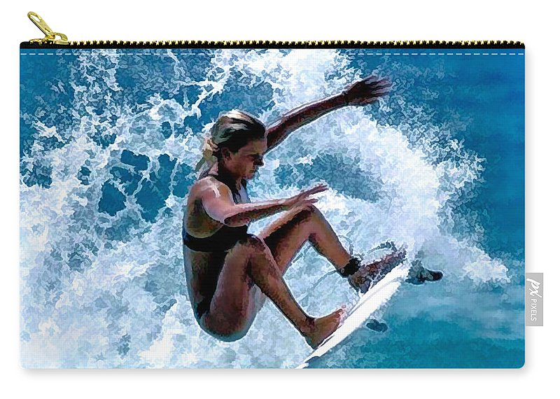 Surf Carry-all Pouch featuring the digital art K Olsson by Keith Kos