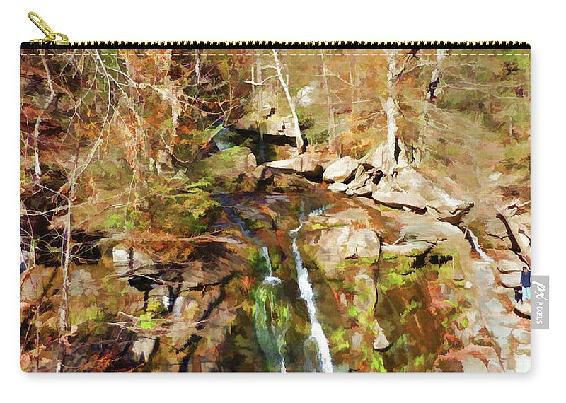 Landmark Carry-all Pouch featuring the painting Flows Down The Cliff by Jeelan Clark