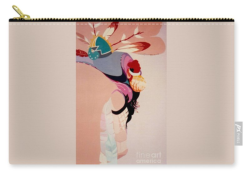 Kachina Carry-all Pouch featuring the painting Kachina 1 by Marlene Burns