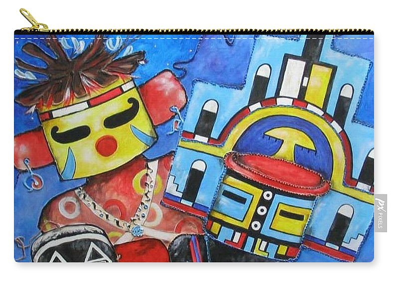 Native Carry-all Pouch featuring the painting Kachina Knights by Elaine Booth-Kallweit