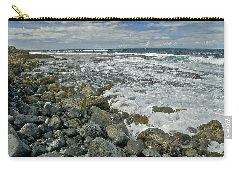 Hawaii Carry-all Pouch featuring the photograph Kaena Point Shoreline by Michael Peychich