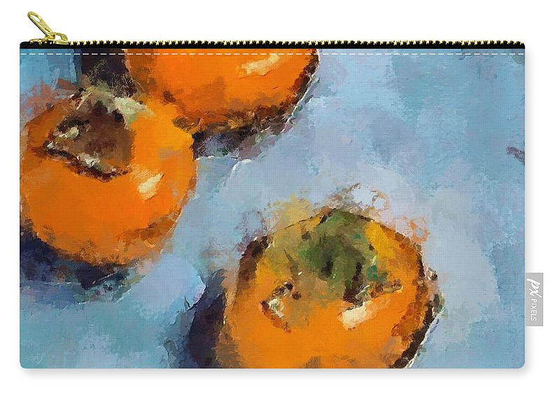 Kaki. Fruits Carry-all Pouch featuring the painting Kaki by Dragica Micki Fortuna