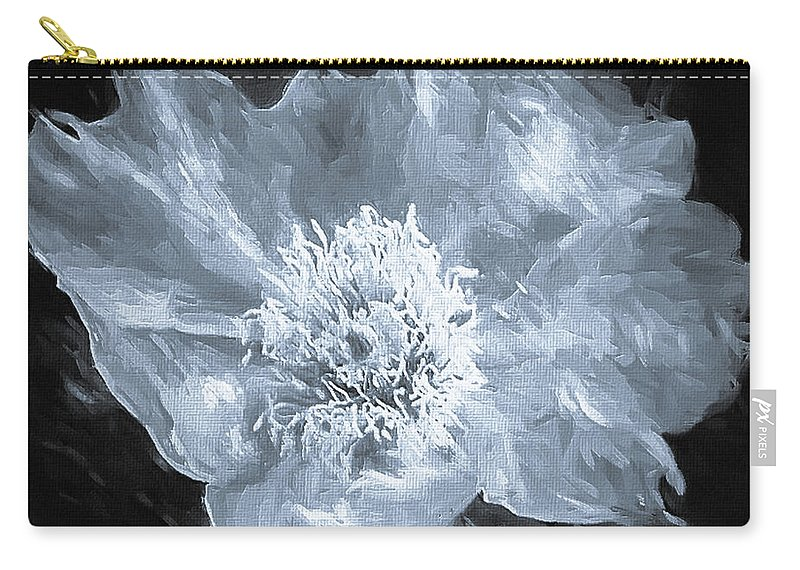 Mona Stut Carry-all Pouch featuring the digital art Kaktus Prickly Pear Cactus Bw by Mona Stut