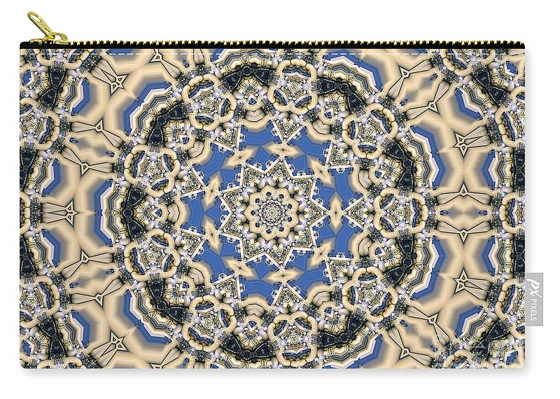 Kaleidoscope Carry-all Pouch featuring the digital art Kaleidoscope 77 by Ron Bissett