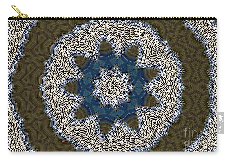 Kaleidoscope Carry-all Pouch featuring the digital art Kaleidoscope 87 by Ron Bissett