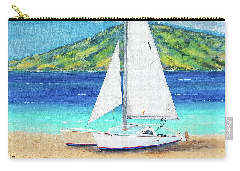 John Moon Paintings Carry-all Pouch featuring the painting Kanoa At Kaanapali Beach Maui by John Moon
