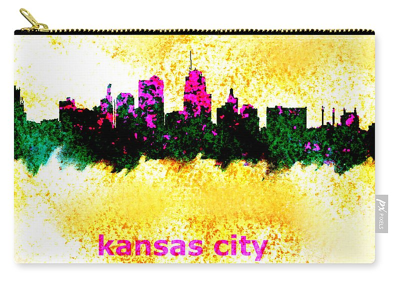 Kansas City Carry-all Pouch featuring the painting Kansas City Skyline 1 by Enki Art
