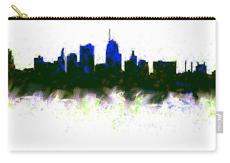 Kansas City Carry-all Pouch featuring the painting Kansas City Skyline Blue by Enki Art