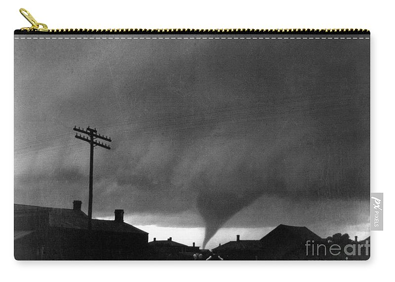 1902 Carry-all Pouch featuring the photograph Kansas: Tornado, C1902 by Granger