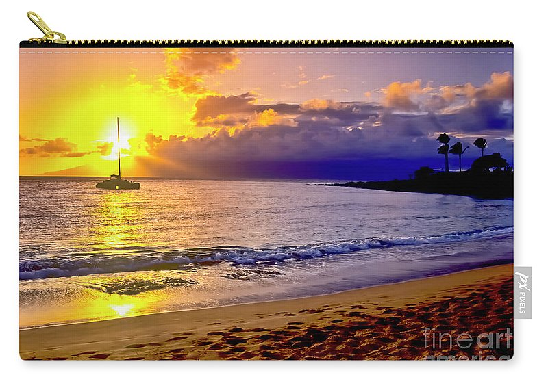 Scenics Carry-all Pouch featuring the photograph Kapalua Bay Sunset by Jim Cazel