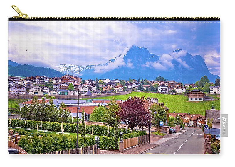 Kastelruth Carry-all Pouch featuring the photograph Kastelruth And Schlern Peak In Alps Landscape View by Brch Photography