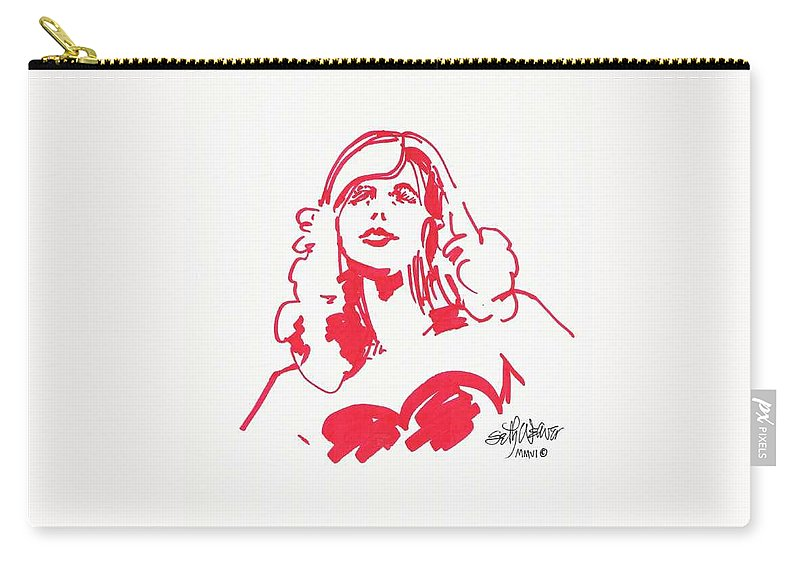 A Fashion Model And Movie Star Captured In A Classic %0 Carry-all Pouch featuring the drawing Kate Moss by Seth Weaver
