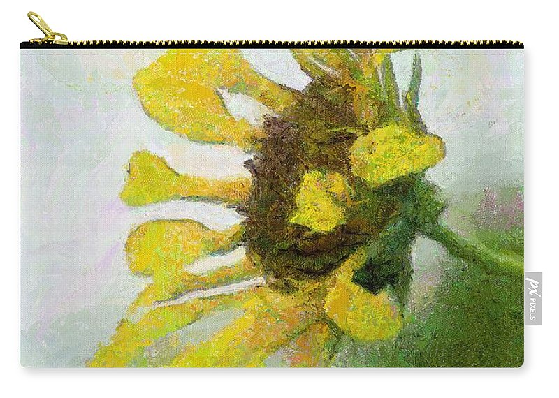 Sunflower Carry-all Pouch featuring the painting Kate's Sunflower by Jeffrey Kolker