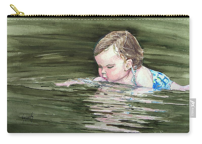 Child In River Carry-all Pouch featuring the painting Katie Wants A River Rock by Sam Sidders