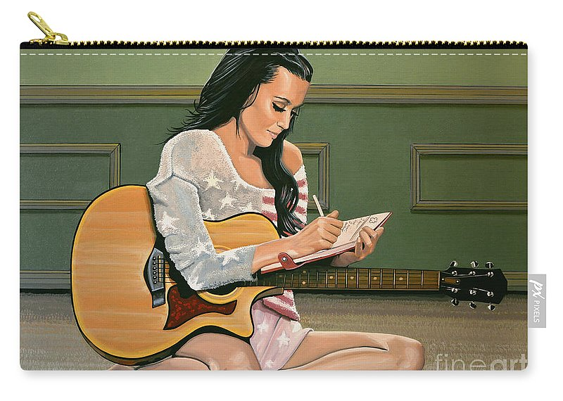 Katy Perry Carry-all Pouch featuring the painting Katy Perry Painting by Paul Meijering