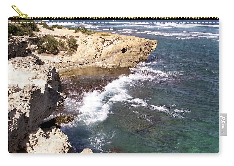 Kauai Carry-all Pouch featuring the photograph Kauai Coast With Shark Outcrop by Amy Fose