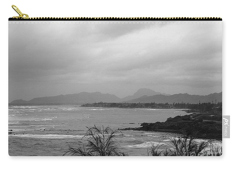 Black And White Carry-all Pouch featuring the photograph Kauai Coconut Coast by Mary Deal