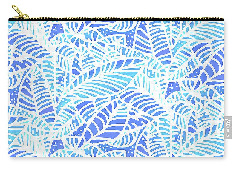 Abstract Carry-all Pouch featuring the digital art Kaua'i Ocean Leaves by Karen Dyson