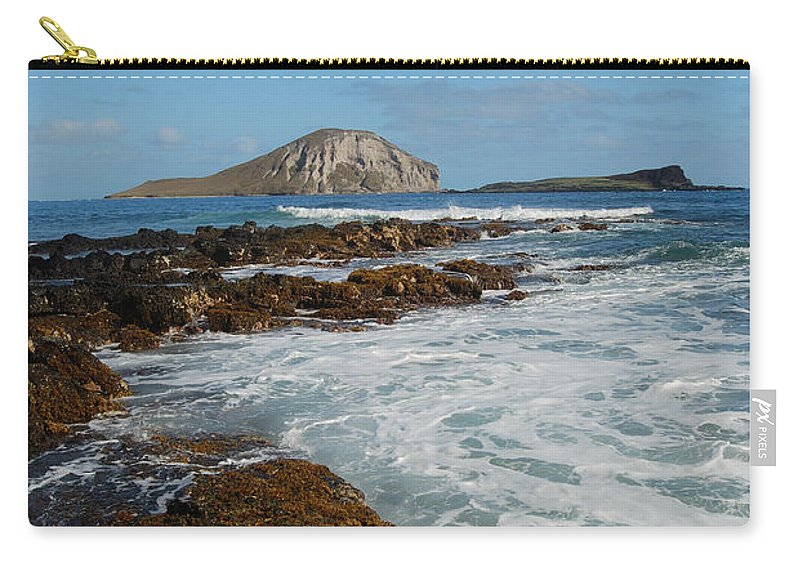 Manana Island Carry-all Pouch featuring the photograph Kaupo Beach by Michael Peychich