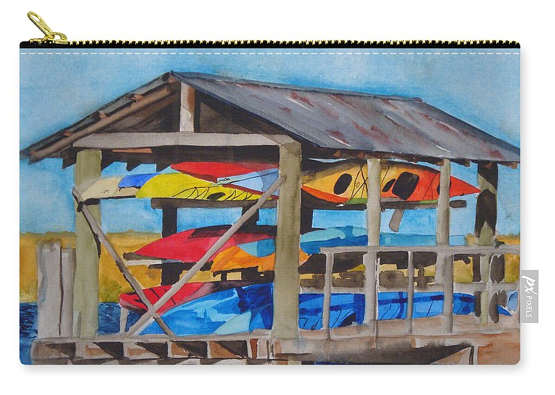 Kayak Carry-all Pouch featuring the painting Kayak Rainbow by Jean Blackmer