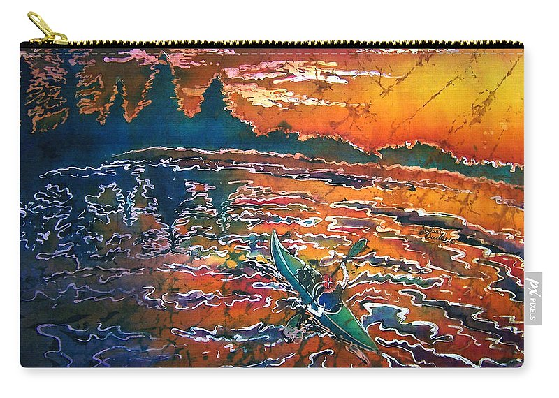 Kayak Carry-all Pouch featuring the painting Kayak Serenity by Sue Duda