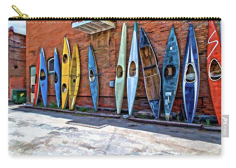 Kayak Carry-all Pouch featuring the photograph Kayaks On A Wall by Charles Muhle