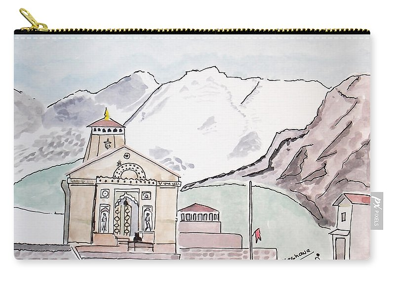 Kedarnath Carry-all Pouch featuring the painting Kedarnath Jyotirling by Keshava Shukla