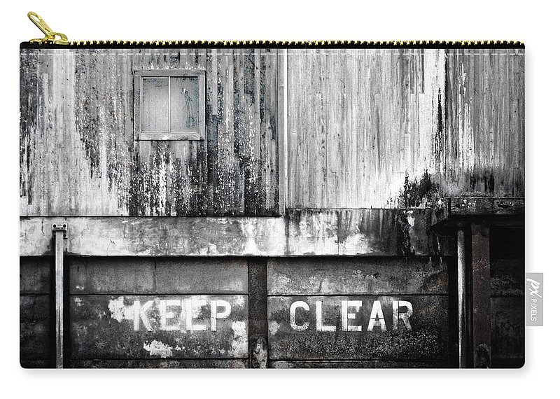 Industrial Art Carry-all Pouch featuring the photograph Keep Clear Industrial Art by Carol Leigh