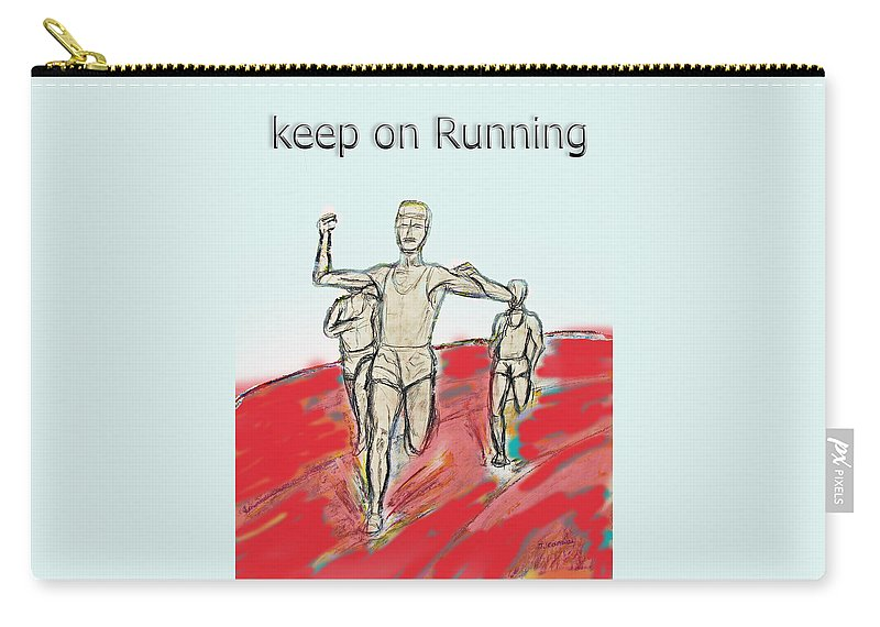 Running Carry-all Pouch featuring the drawing Keep On Running, Athletes by Tom Conway