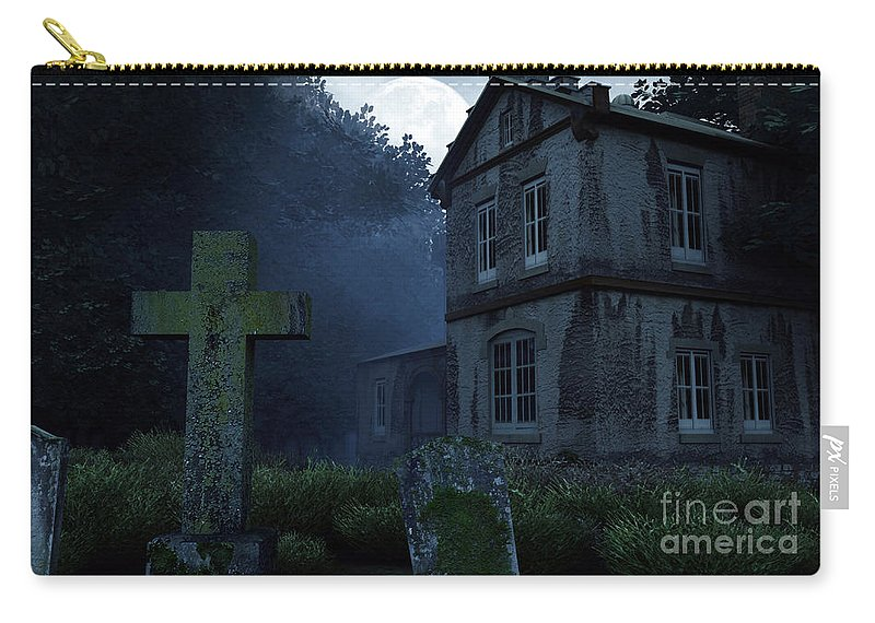 Dark Carry-all Pouch featuring the digital art Keepers Of The Manor by Richard Rizzo