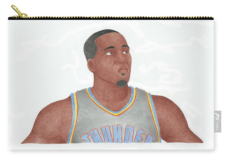 Basketball Carry-all Pouch featuring the drawing Kendrick Perkins by Toni Jaso