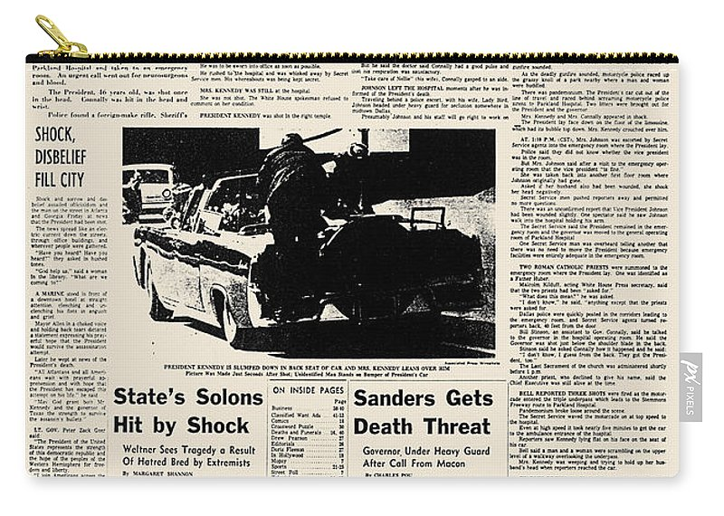 1963 Carry-all Pouch featuring the photograph Kennedy Assassination, 1963 by Granger