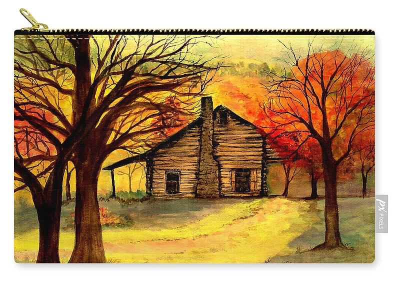 Log Cabins Carry-all Pouch featuring the painting Kentucky Cabin by Gail Kirtz