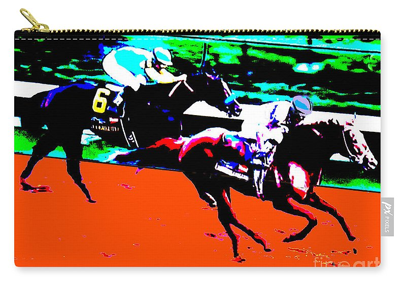 I'll Have Another Horse Racing Bodemeister 2012 Churchill Downs Santa Anita Furlongs I'll Have Another Digital Art Carry-all Pouch featuring the digital art Kentucky Derby by RJ Aguilar