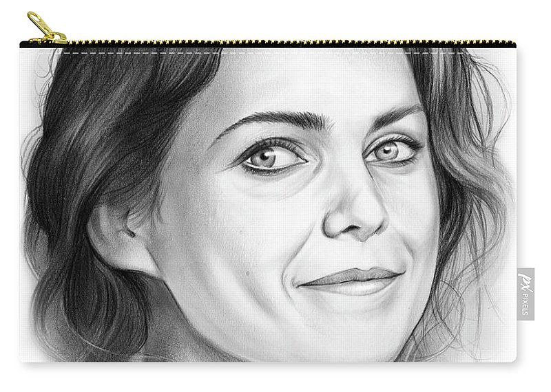 Keri Russell Carry-all Pouch featuring the drawing Keri Russell by Greg Joens