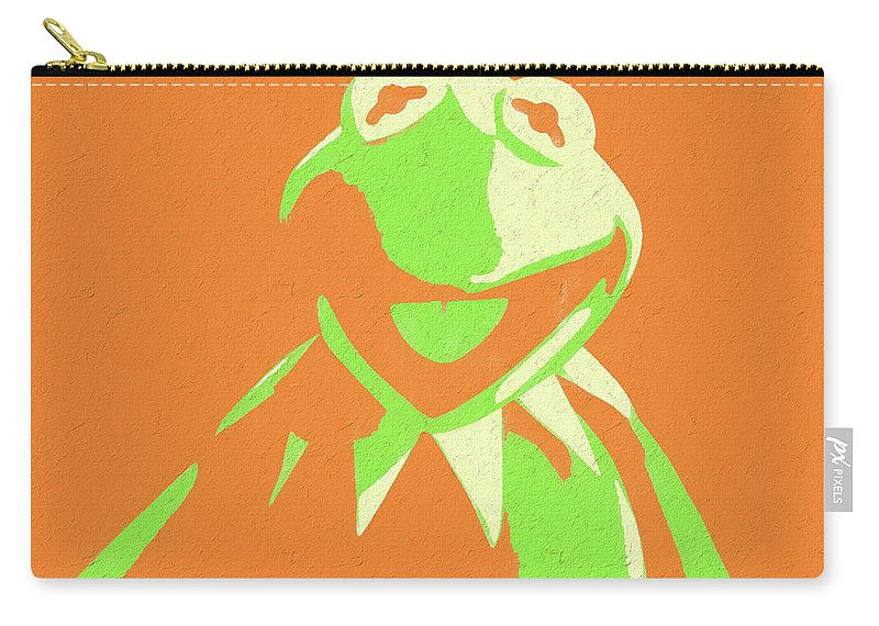 Kermit The Frog Pop Art Carry-all Pouch featuring the mixed media Kermit The Frog by Dan Sproul