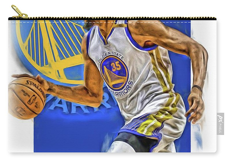 Kevin Durant Carry-all Pouch featuring the mixed media Kevin Durant Golden State Warriors Oil Art by Joe Hamilton