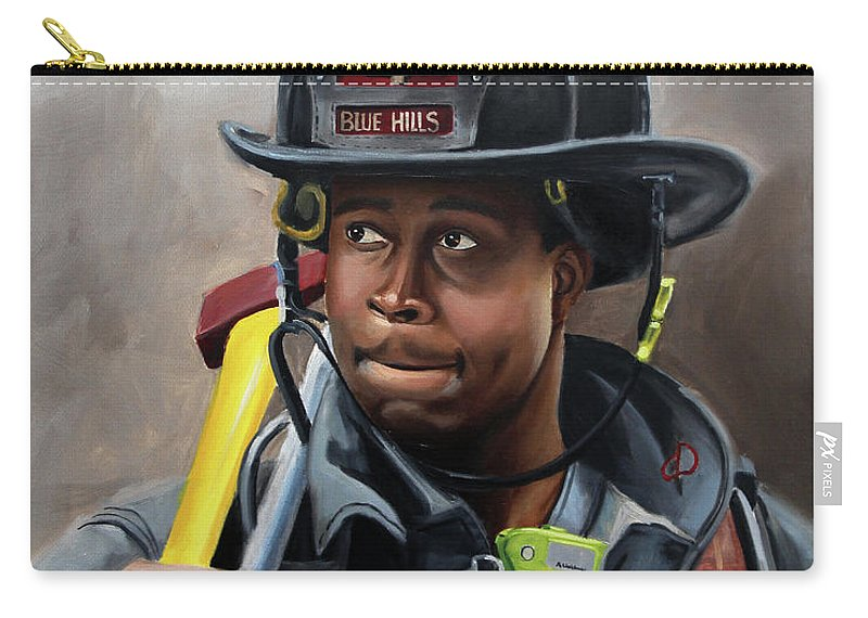 Firefighters Carry-all Pouch featuring the painting Kevin by Paul Walsh