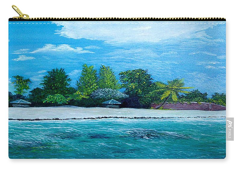 Seascape Carry-all Pouch featuring the painting Key West Beach by Peter Kulik