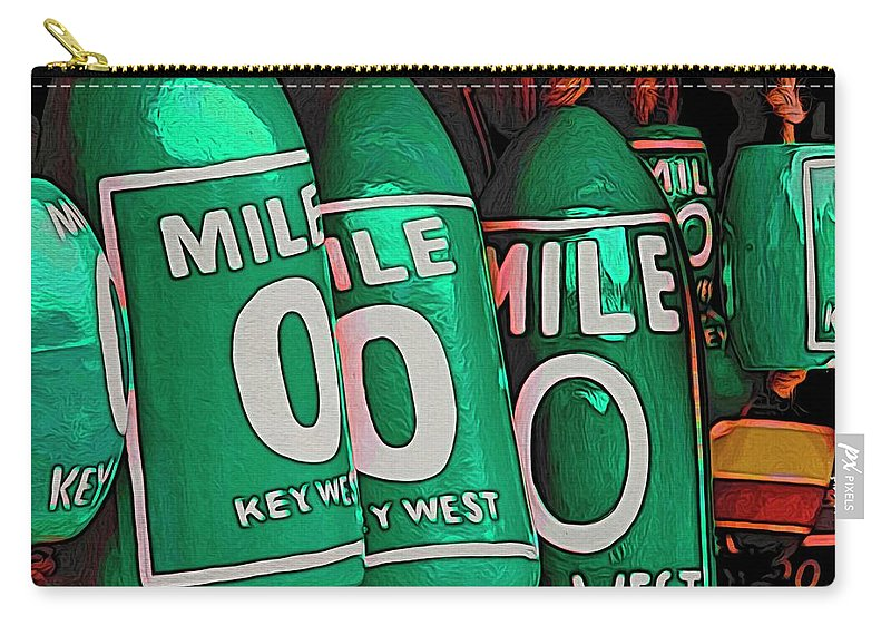 Alicegipsonphotographs Carry-all Pouch featuring the photograph Key West Mile Zero by Alice Gipson