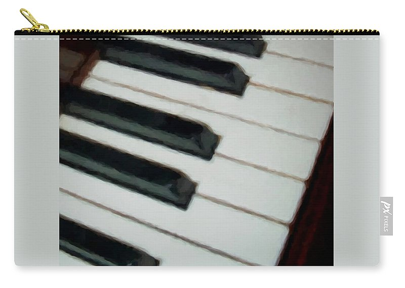 Piano Carry-all Pouch featuring the digital art Keys Close Up by Anita Burgermeister
