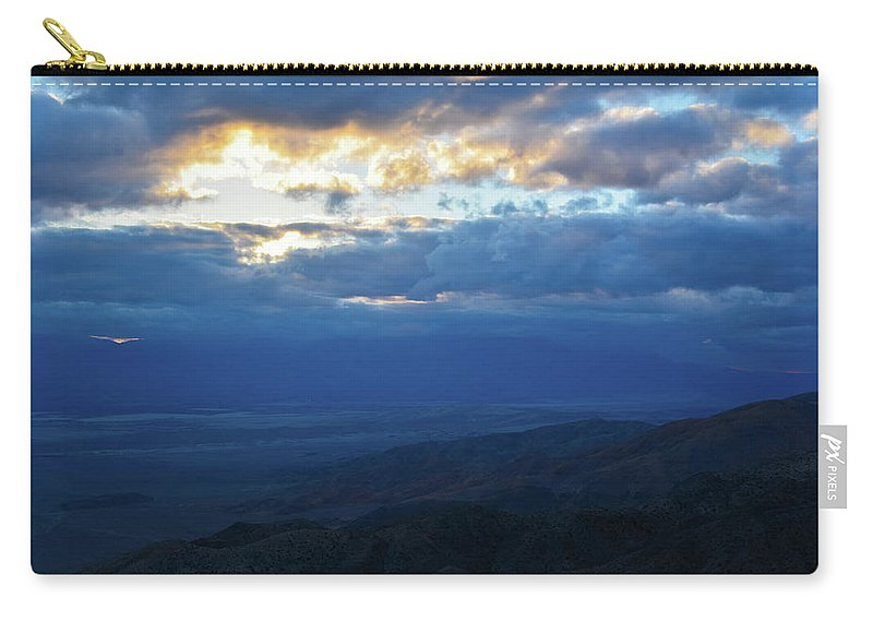 Joshua Tree Carry-all Pouch featuring the photograph Keys View Sunset Landscape by Kyle Hanson