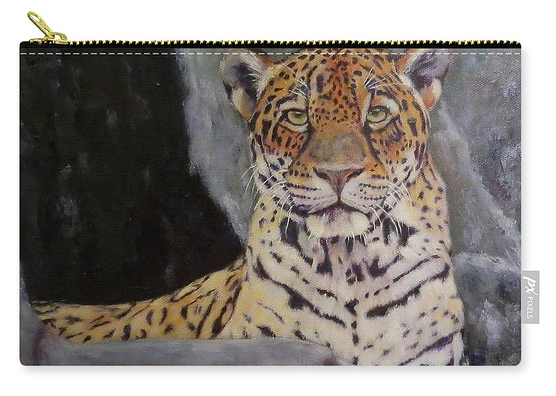 Jaguar Carry-all Pouch featuring the painting Khensu, Jaguar by Sandra Reeves