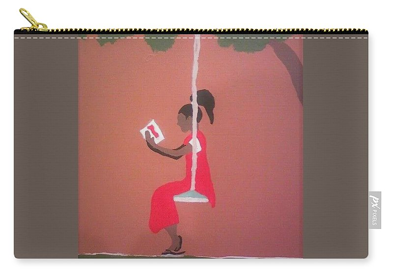 Black Art Carry-all Pouch featuring the painting Kianas Twilight by Demarco Kelly