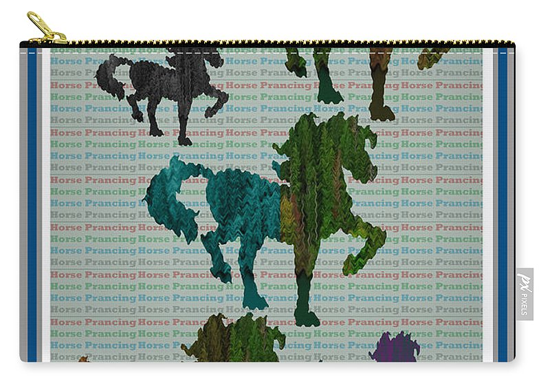 Green Horse Prancing Art Made Of Jungle Green Wild Colors Carry-all Pouch featuring the mixed media Kids Fun Gallery Horse Prancing Art Made Of Jungle Green Wild Colors by Navin Joshi