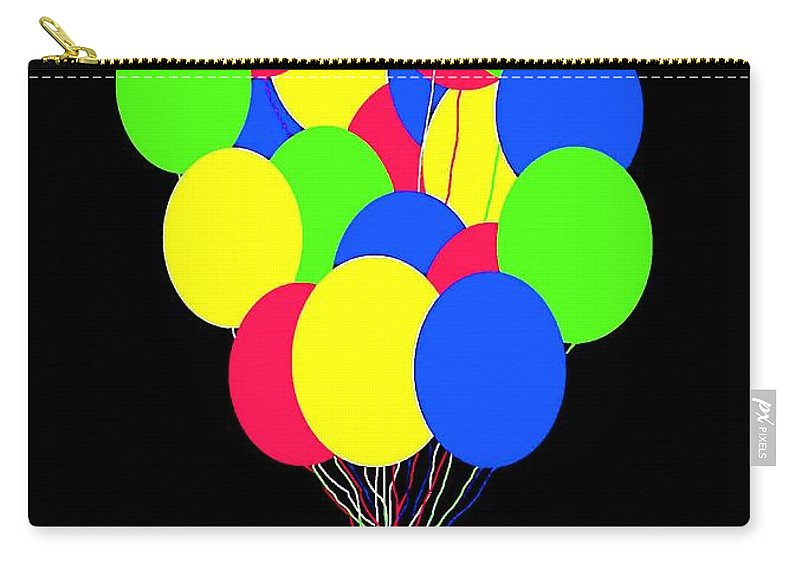 Balloons Carry-all Pouch featuring the digital art Kids Korner Balloons by Will Borden