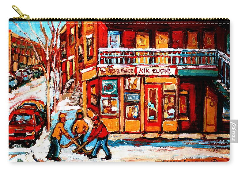 Montreal Streetscene Carry-all Pouch featuring the painting Kik Cola Depanneur by Carole Spandau