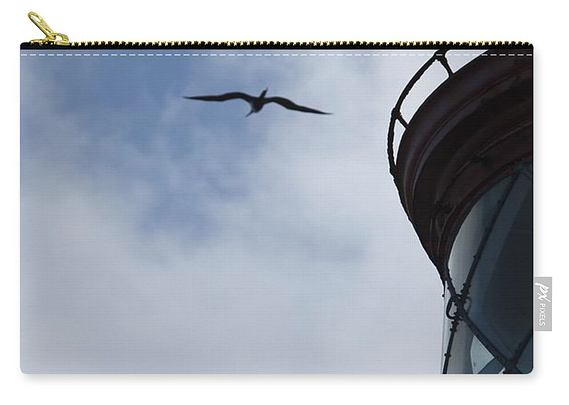 Kilauea Carry-all Pouch featuring the photograph Kilauea Lighthouse And Bird by Nadine Rippelmeyer
