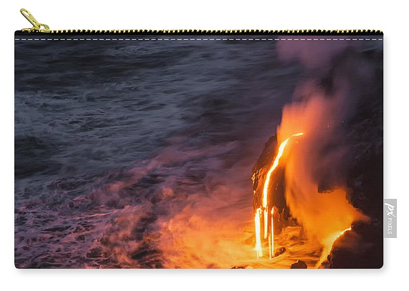 Kilauea Volcano Kalapana Lava Flow Sea Entry The Big Island Hawaii Hi Carry-all Pouch featuring the photograph Kilauea Volcano Lava Flow Sea Entry 6 - The Big Island Hawaii by Brian Harig
