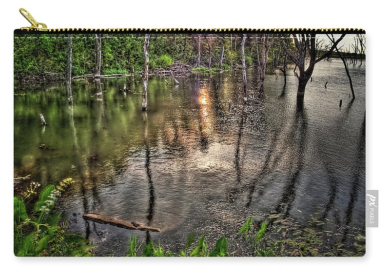 Hdr Carry-all Pouch featuring the photograph Kill Creek 8283 by Timothy Bischoff